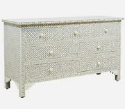 Bone Inlay Chest Of 7 Drawers Geometric Design In Grey Color With Insurance Home