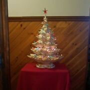 Vintage Lg White And Gold Pin Hole Ceramic Lighted Christmas Tree Decorative 26
