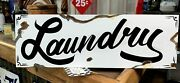 Vintage Rustic Primitive Metal Laundry Barn Stable Wash Hand Painted Farm Sign