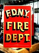 Nypd Sign Art Hand Painted Badge Police Fire Department Station Display New York