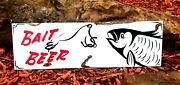 Vintage Old Hand Painted Metal Beer Bait Tackle Fishing Rod Fish Lure Store Sign