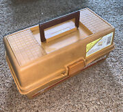 Vintage Fenwick Woodstream 1050 Folding 3 Tray Fishing Tackle Box And Tackle A15