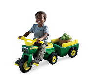 Toddler Ride On Deere Pedal Tractor Wagon Kid Farm Worker Toy Manual Fun Outdoor