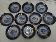 Lot Of 10 Antique Flow Blue Fish Plates - Oliver China Co. - Beautiful Blue And...