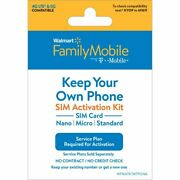 1 Family Mobile Sim Card Activation Kit By T-mobile No Plan Included