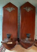 Vintage Set Of 2 Wooden Wall Sconces Candle Holder Eagle Colonial American