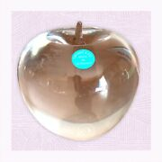Vintage Crystal Apple Paperweight With Original Sticker