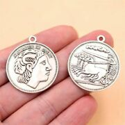 Alexander The Great Metal Pendants Coins Charms Ancient Greece Silver Color 6pcs