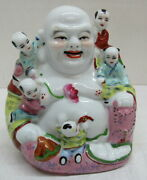 Vintage Chinese Porcelain Laughing Buddha Figure W/ 5 Children Numbered 81 6.5