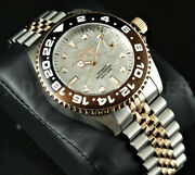 45mm Pro Diver Root Beer Automatic Meteorite Dial Two Tone Ss Watch New