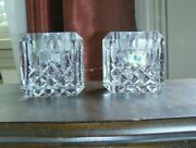 Waterford Crystal Lismore Pair Of 2 Square/cube Candle Holders-taper Or Votive