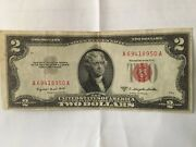 1953-b 2 Two Dollar Bill Red Seal Us Note