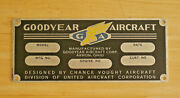 Goodyear Aircraft Engine Data Plate Tag Oem Factory Placard Akron Aviation Blimp