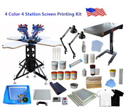 Small Workshop 4 Color 4 Station Screen Printing Kit With 1800w Flash Dryer