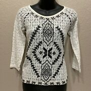 Free People Medium Top Changing Directions Sheer Lace White Black Aztec Boho