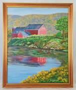 Folk Art Primitive Vintage Original Painting C Warner Dairy Farm Detailed Barn