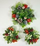 3 Vintage Plastic Candle Ring Christmas Wreath Holly Nuts Berry 2 Matching