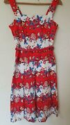 Floral Country Classic Pleate Summer Holiday Dress Wedding Size 10