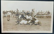 Mint Usa Real Picture Postcard Cowboys At California Rodeo Salinas Trout Photo
