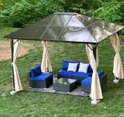 Patio 10and039 X 12and039 Hardtop Metal Gazebo Steel Canopy Tent Curtains Yard Shelter