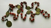 † Scarce Antique Signed Servite Seven Sorrows Brass And Jasper Chaplet Rosary 28