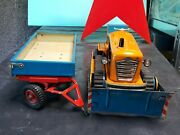 Vintage Bulldozer 60and039s Msb Tractor And Trailer Toy Batt. Operated Germany Ddr Gdr