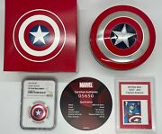 Captain America Shield .999 Silver Coin Ngc Pf70 And Mint Stamp