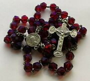 Anddagger Scarce Pilgrimage To Lourdes Antique French Crimson Glass Rosary 28 1/2 Anddagger