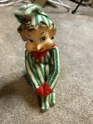 Vintage Christmas Pointy Nose Knee Hugger Green White Striped Elf Pixie 8 Tall