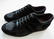 Zilli Black Python Snakeskin Leather Suede Sneakers Shoes Size 12 Us 45 Eu 11 Uk