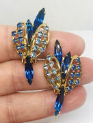 Large Signed Hobeandrsquo Rhinestone Earrings Shades Of Blue 1 5/8 Inch Vintage Jewelry
