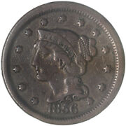 1856 Braided Hair Large Cent Slanted 5 Very Fine Vf See Pics G210
