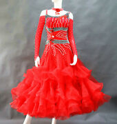 Ballroom Competition Dance Dress Red Full Open American Tango Quick Step Gown 14