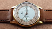Baume And Mercier Vintage Chronograph Watch Two Tones Ca. 1940 Big Size Swiss Made