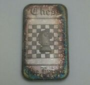 Rare Vintage Silver Bar The Knight Chess Piece 1 Oz .999 Fine Heavily Toned