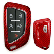 Real/genuine Red Carbon Fiber Smart Key For 20-up Cadillac Ats Ct4 Ct5 Ct6 Xt4..