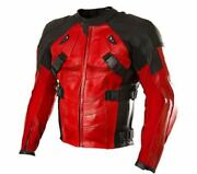 Dead Pool Motorcycle Leather Jacket With Ce Armored Padding /dead Pool Motorbike