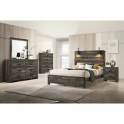 Contemporary Rustic Finish Full Size 5pc Bedroom Set Bed Dresser Mirror Ns Wood