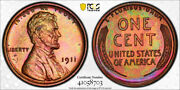 1911 1c Lincoln Wheat Cent Pcgs Pr 64 Rb Proof Red Brown Colorful Toned Beauty