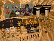 Vintage Mixed Lot Wwii Military Medals Pins Buttons Patches Sterling 100+ Items