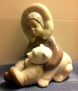 Lladro Eskimo/inuit Girl With Polar Bear Cub Figurine In Excellent Condition