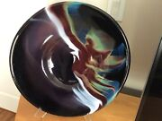 Vintage Ira Sapir Andldquoblack Feather Andldquo Art Glass 56andrdquo Plate Signed Dated 387
