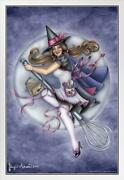 Kitchen Witch By Brigid Ashwood White Wood Framed Poster 14x20