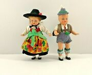 Vintage German Jointed Plastic Miniature Dolls Boy And Girl 4 Inch