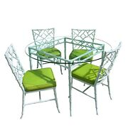 Phyllis Morris Faux Bamboo Dining Set Hollywood Regency Kessler Chairs Fretwork