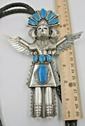 Navajo Turquoise Kachina Sterling Silver Bolo Tie G Hale Huge
