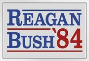 Ronald Reagan George Bush 1984 Campaign White Wood Framed Poster 14x20