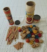 2 Sets Of Vintage Easy Tinker Toys Wooden Pieces Wonder Builder Wheels From 1940