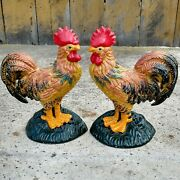 Pair Of Vtg Farm House Painted Cast Iron Rooster Bookend Set Door Stop Cottage