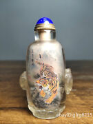 3.6 China Antique Backflow Old Glass Inside Painted Tiger Snuff Bottle